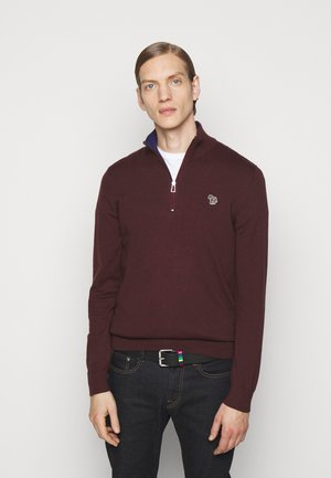 MENS ZIP NECK ZEBRA - Svetr - dark red