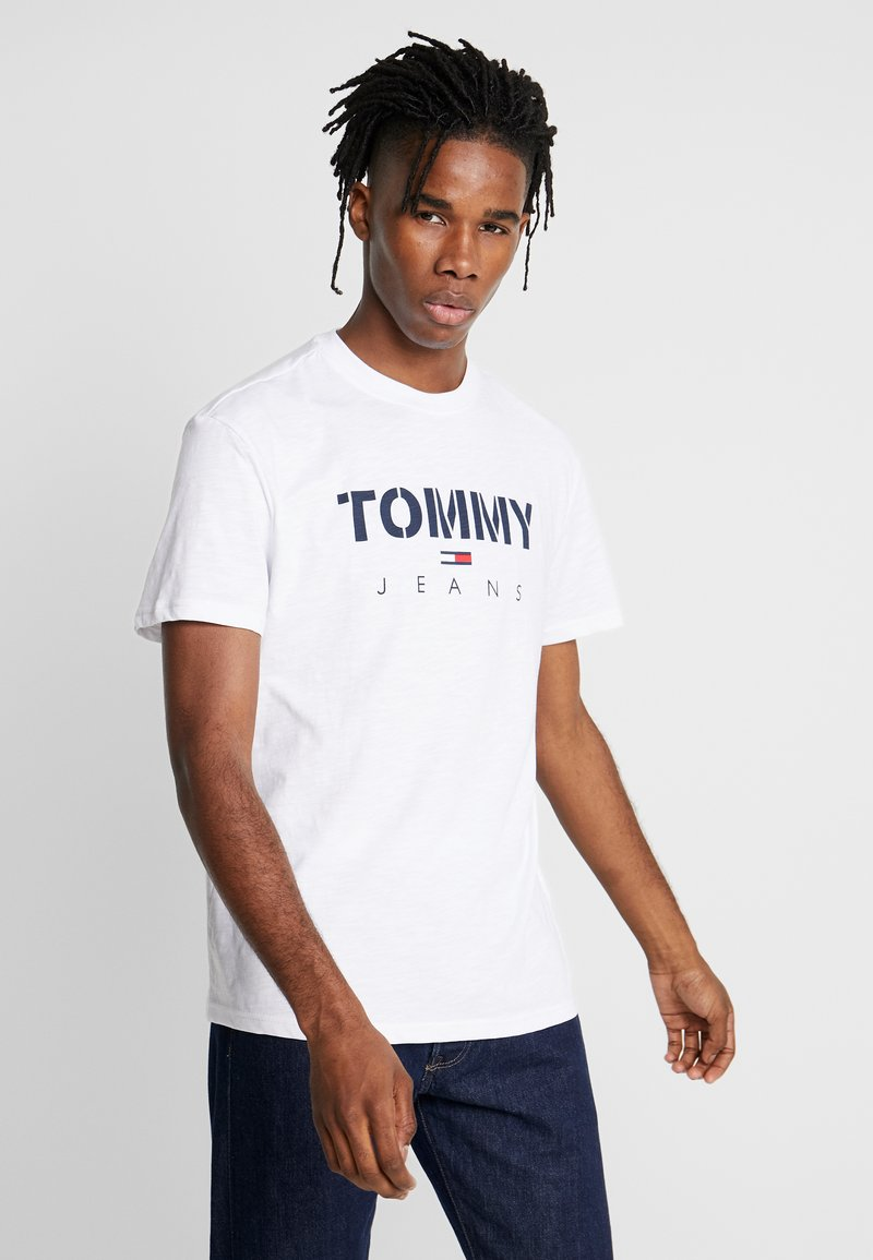 Tommy Jeans - TEXTURED TEE - T-shirt imprimé - classic white