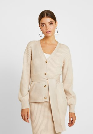SLOUCHY CARDIGAN WITH BELT - Gilet - stone