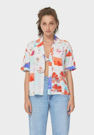 LOOSE FITTING SHORT SLEEVE SHIRT  - Button-down blouse - neon orange