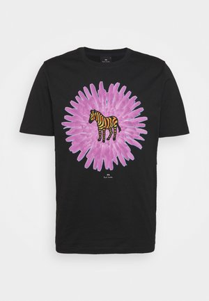 MENS REG FIT FLOWER ZEBRA UNISEX - Print T-shirt - black