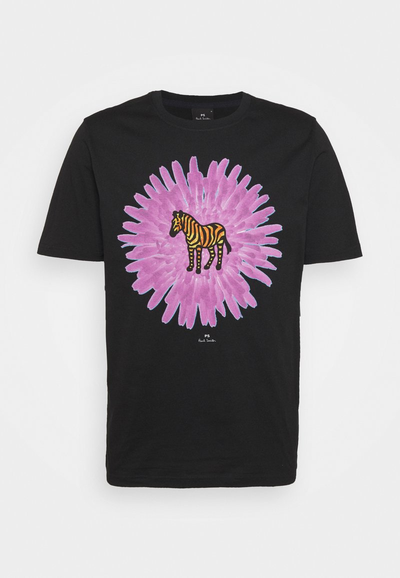 PS Paul Smith - MENS REG FIT FLOWER ZEBRA UNISEX - Print T-shirt - black