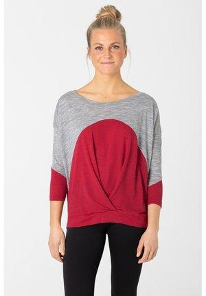 Long sleeved top - grau   rot