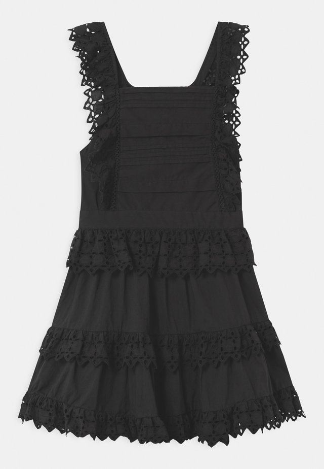 BRODERY ANGLAISE WITH OPEN BACK DETAIL - Vestido informal - black