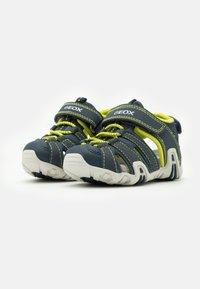 Geox - KRAZE - Walking sandals - navy/lime - 1