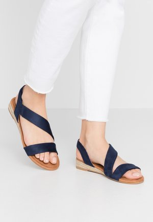 WIDE FIT REAMY ASYMETTRIC MINI WEDGE - Sandales compensées - navy