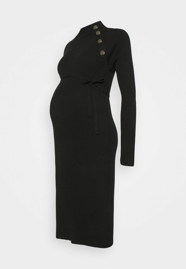 DRESS - Stickad klänning - black