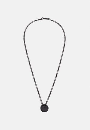 CRACKED HALF DISK NECKLACE - Necklace - black
