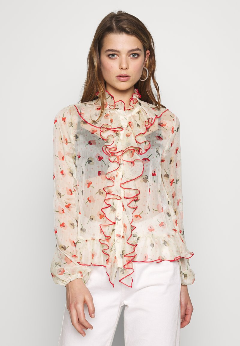 Lost Ink - RUFFLE FRONT PRINTED BLOUSE - Bluser - multi