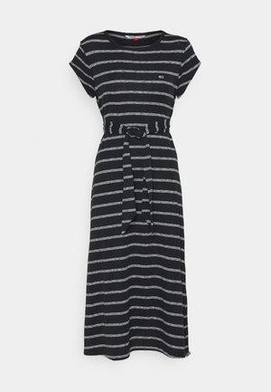 BELTED STRIPE DRESS - Sukienka z dżerseju - black / multi