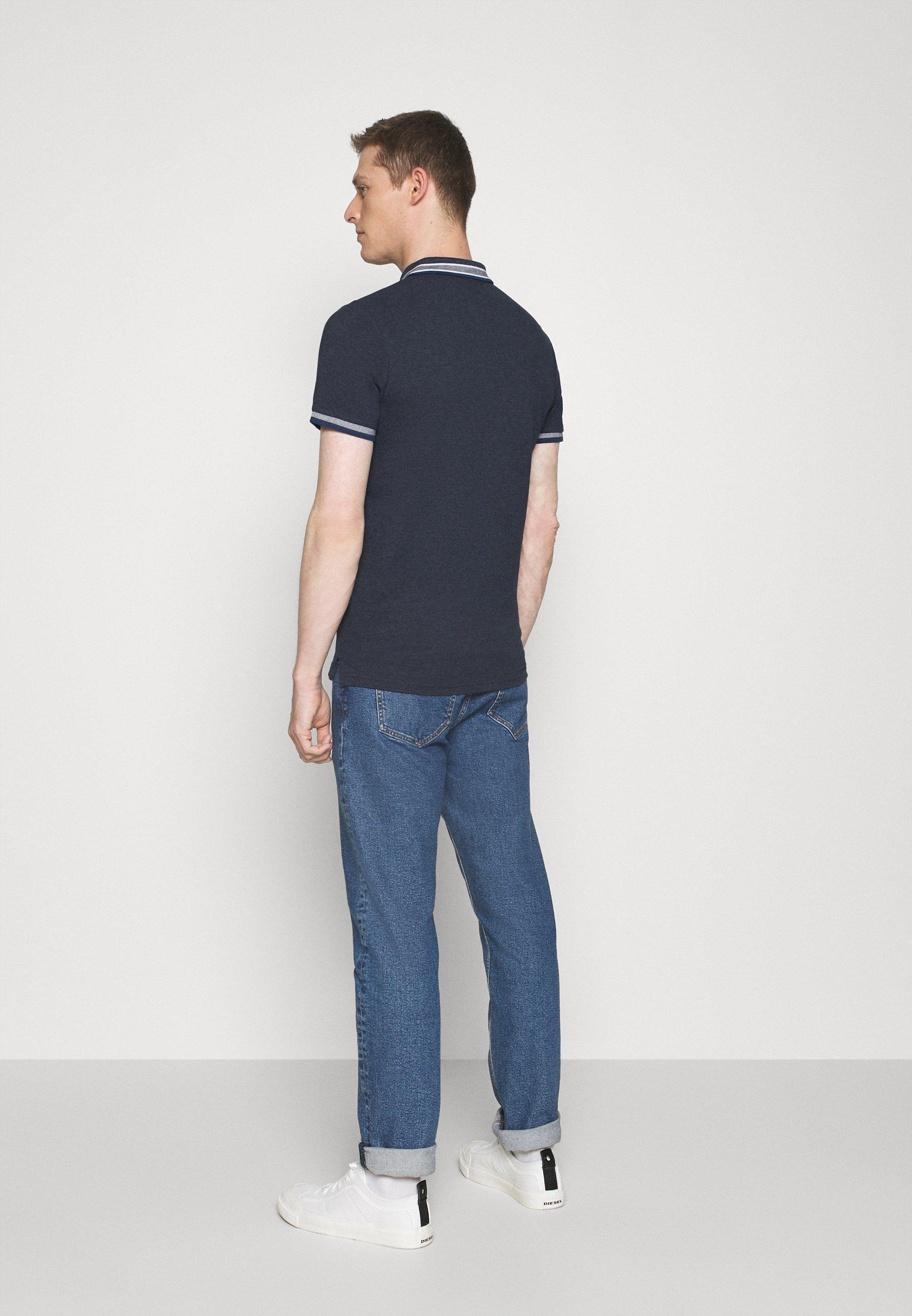 TOM TAILOR WORDING TIPPING - Polo shirt - dark blue L2BMK