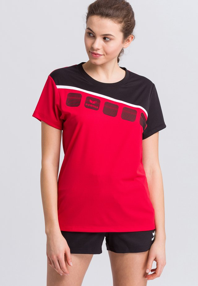 Print T-shirt - red/black/white