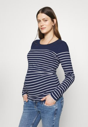 Long sleeved top - navy/white