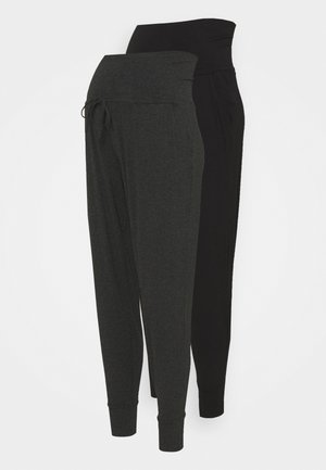 KIERAN 2 PACK - Tracksuit bottoms - grey/black