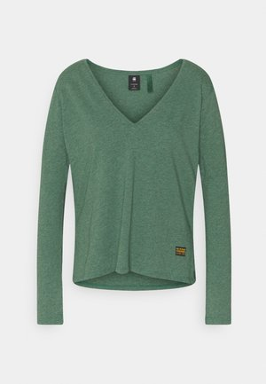 CORE STRAIGHT V T WMN L\S - Langærmede T-shirts - cosmo green heather