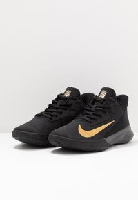Nike Performance - PRECISION 4 - Basketball shoes - black/metallic gold/dark smoke grey
