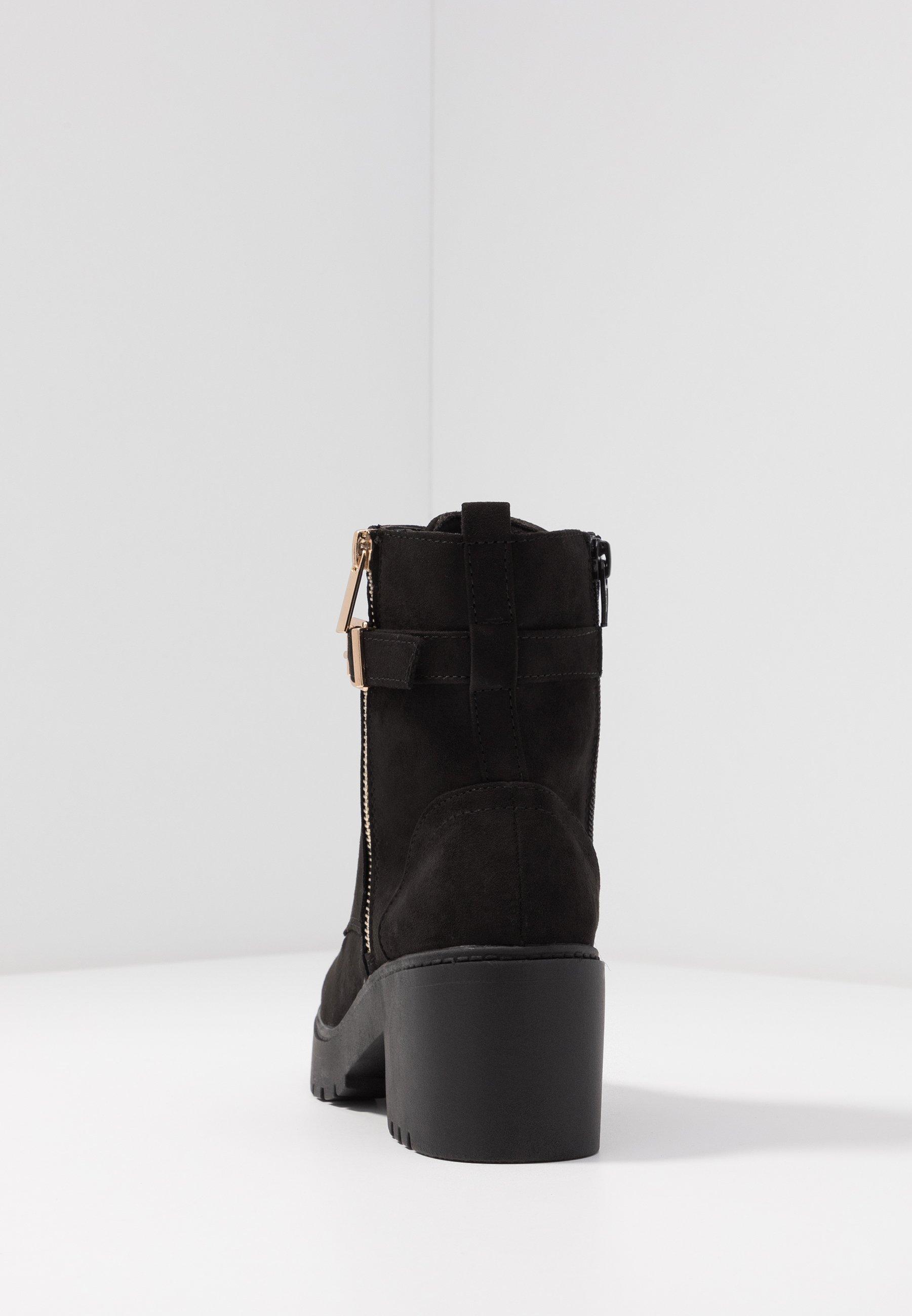 MANTA SIDE ZIP LACE UP Enkellaarsjes met plateauzool black