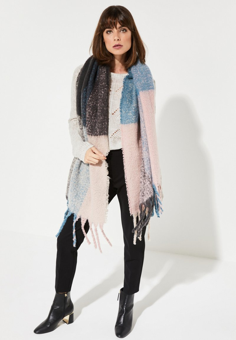comma - MIT COLOURBLOCK-MUSTER - Scarf - light pink/teal/grey