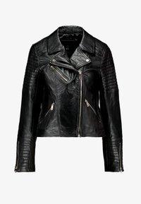 River Island - CATO JACKET - Leather jacket - black - 4
