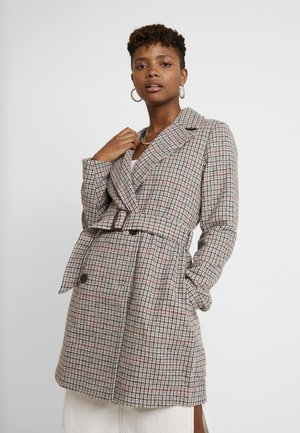 BELTED CHECK COAT - Short coat - multi