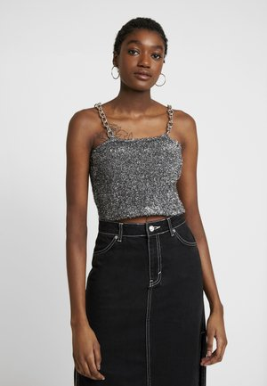 TINSEL CAMI WITH CHAIN STRAP DETAIL - Blůza - silver