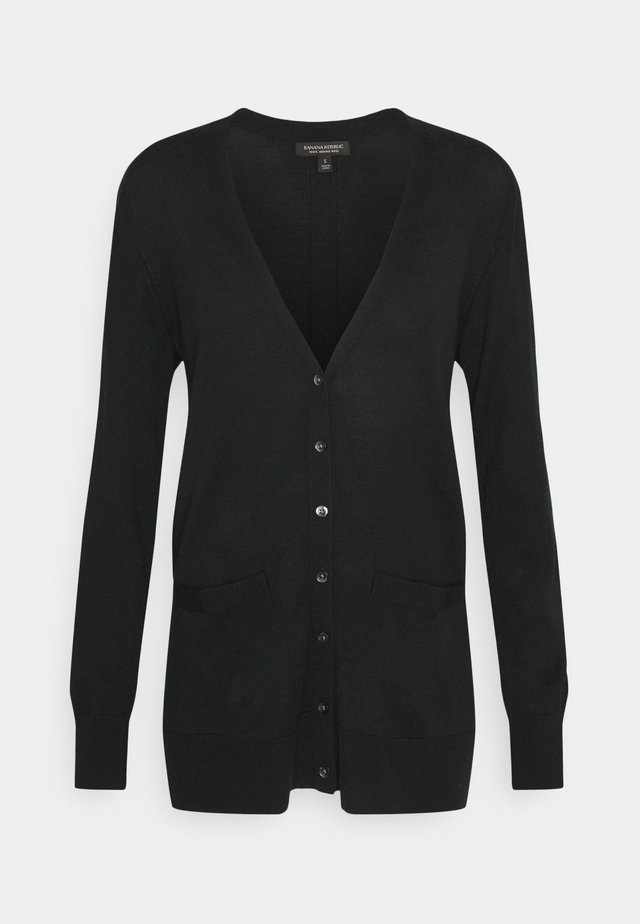 LONG BUTTON UP CARDIGAN - Kofta - black