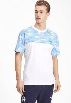 T-shirt print - white-bleu azur