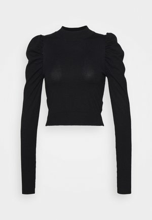 PUFF SLEEVE CROP JUMPER - Jumper - black