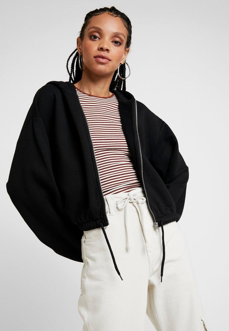 Weekday - MIMI ZIP HODDIE - Zip-up hoodie - black