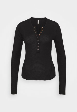 ONE OF THE GIRLS HENLEY - Long sleeved top - black