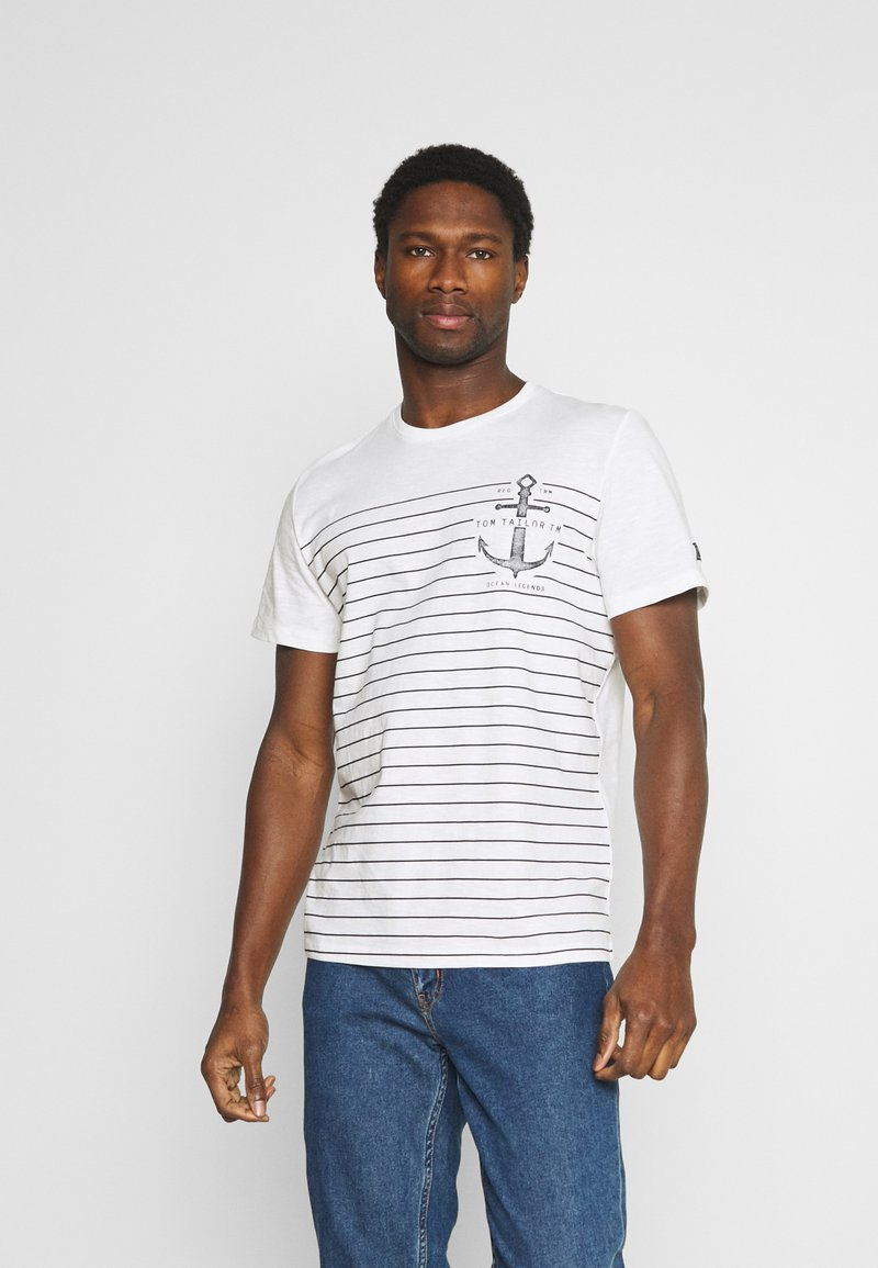 TOM TAILOR - PRINTED HARBOUR STRIPE - Print T-shirt - off white