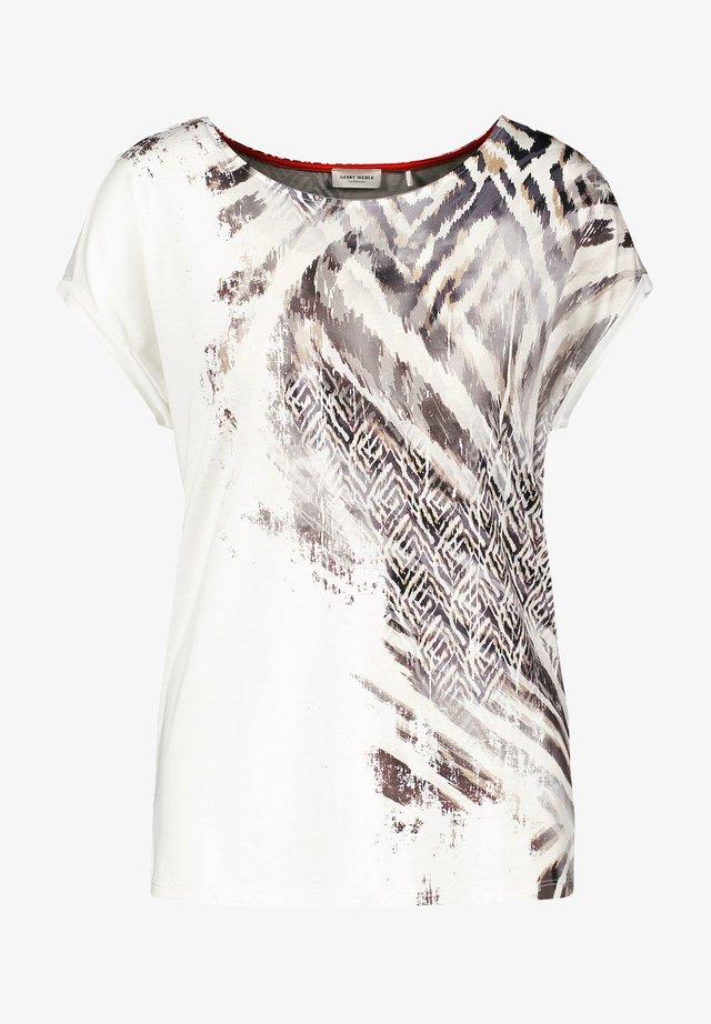 T-Shirt print - ecru schwarz sahara druck