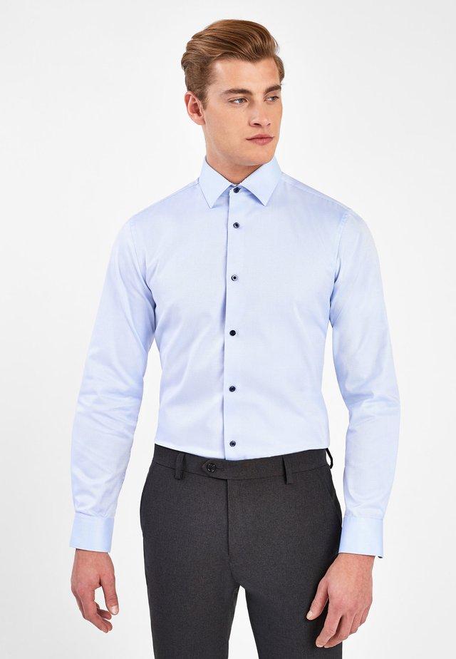 LIGHT BLUE SLIM FIT SINGLE CUFF COTTON SHIRT WITH PAISLEY TRIM D - Formal shirt - blue