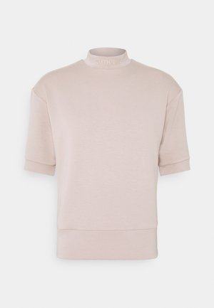 HIGH NECK OVERSIZED TEE - T-shirt basic - beige