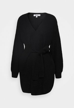 OVERSIZED BELTED BALLOON SLEEVE CARDIGAN - Cardigan - black