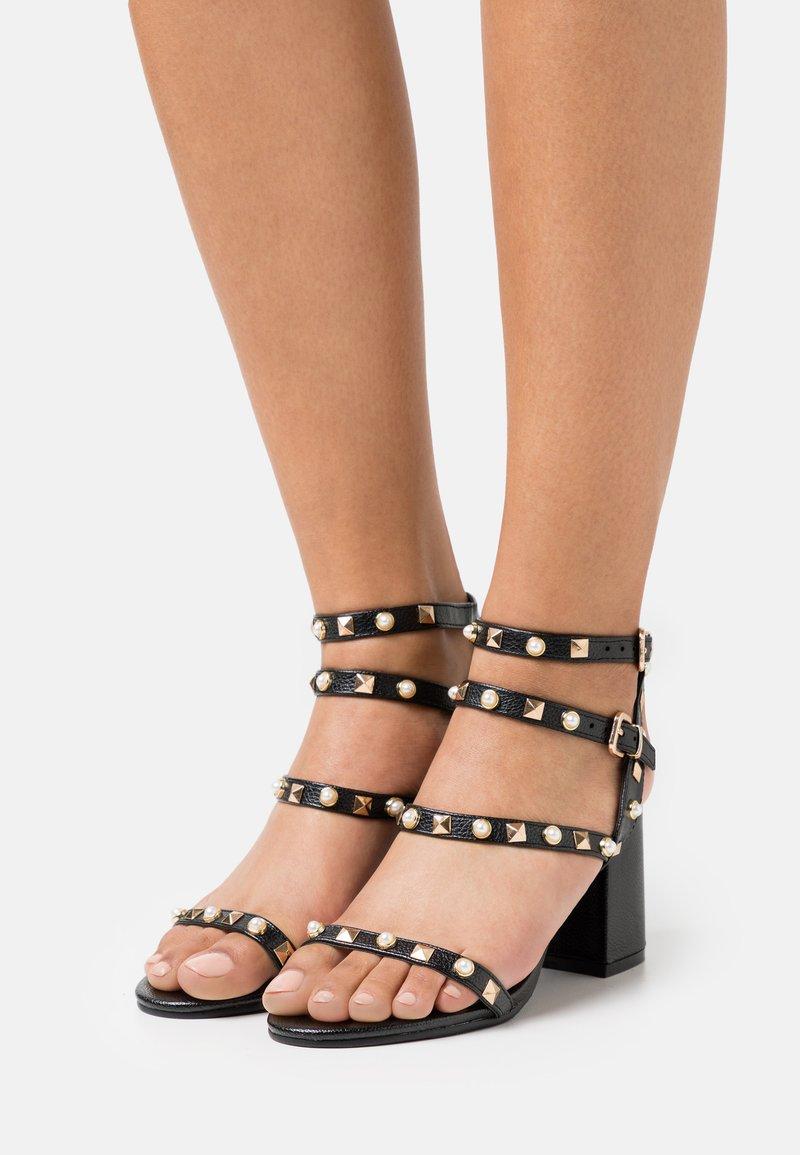 Miss Selfridge - SHANNON STUD BLOCK HEEL - Sandals - black