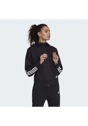 3-STRIPES DOUBLEKNIT FULL-ZIP SCUBA HOODIE - Bluza rozpinana - black