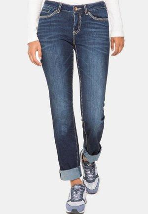MIT KONTRASTNÄHTEN - Slim fit jeans - dark blue