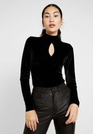 IRUMA HIGN NECK WITH FRONT KEYHOLE - Long sleeved top - black