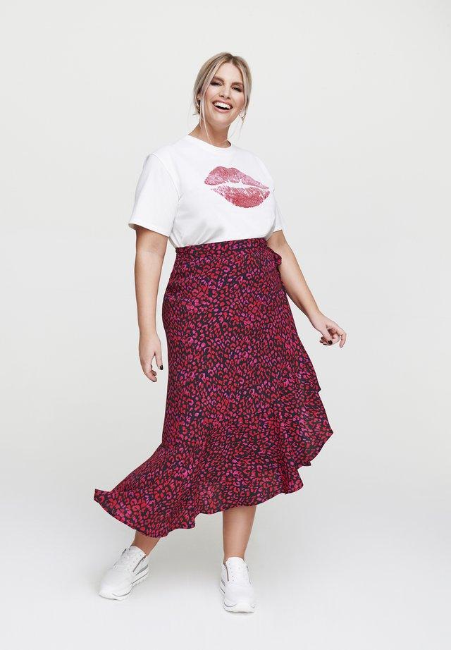 MIT VOLANT - A-line skirt - rot