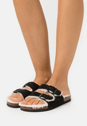 REX DOUBLE BUCKLE - Domácí obuv - black/cream