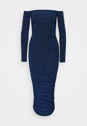 BARDOT SLINKY RUCHED MIDAXI DRESS - Jersey dress - navy