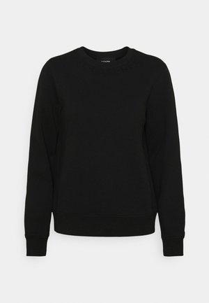 RHINESTONE LOGO NECK - Sweater - black
