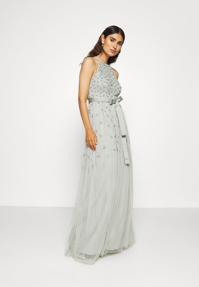 EMBELLSIHED HALTER NECK MAXI DRESS  - Galajurk - green