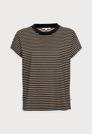 WITH CONTRAST NECK - Camiseta estampada - black/beige