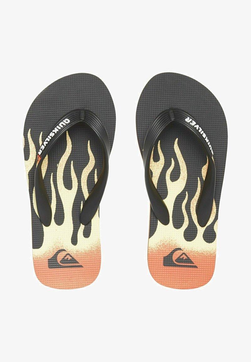 Quiksilver - MOLOKAI FLAME - T-bar sandals - black/black/yellow