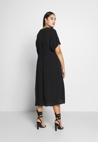 Cotton On Curve - CURVE MARISSA GATHERED FRONT MIDI DRESS - Day dress - black - 2