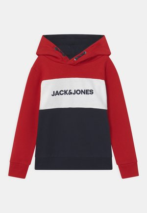 JJELOGO BLOCKING HOOD - Hoodie - tango red