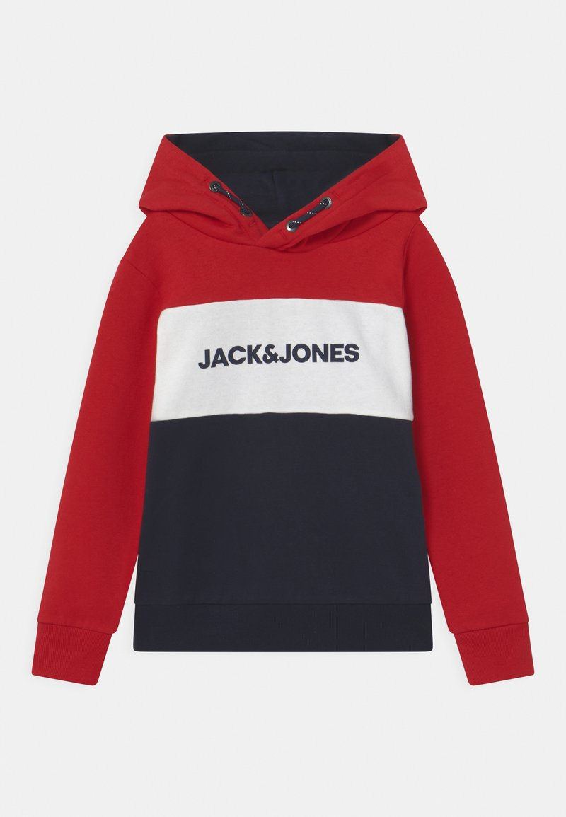 Jack & Jones Junior - JJELOGO BLOCKING HOOD - Mikina s kapucí - tango red