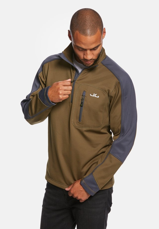 Fleece trui - dark olive/navy
